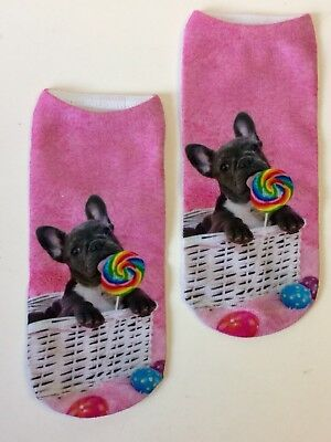 French Bulldog Puppy Ankle Socks Pink
