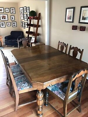 Antique Solid Wood Farmhouse Table w 6 Chairs & 4 Leaves