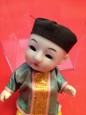Vintage Antique Japan Asian China Boy jointed doll open & close eyes ponytail