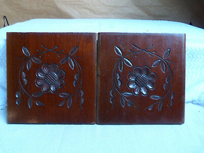 Two Hand Carved Antique Wooden Panels, Central Floral Motif With Leaf Detailing