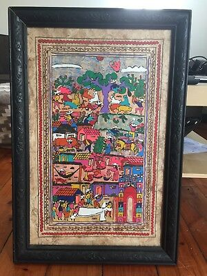 Framed Indigenous Mexican Village Painting - Vintage Frame