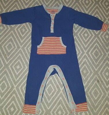 Baby Boden boys blue and orange long sleeve romper 12-18 months