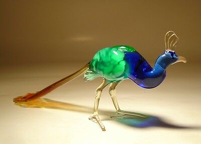 "Blown Glass Figurine  ""Murano"" Art Bird PEACOCK"