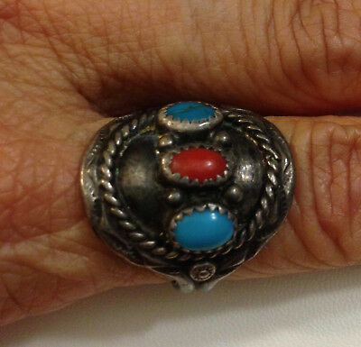 Mens Native American Sterling Silver Turquoise Coral Ring Size 10.25 by R 7.5 GR