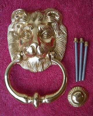 "DOOR KNOCKER superb LARGE *SOLID BRASS* - ""LION HEAD"" - NEW in Box"