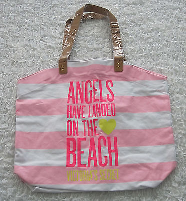 NEW Victoria's Secret Pink & White Striped Angels Have Landed Beach Tote Bag