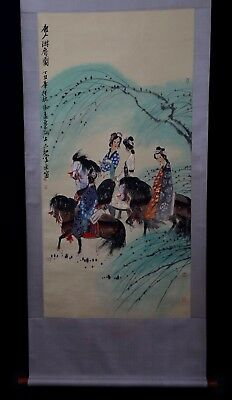 Unique Long Rare Chinese Scroll Hand Painting Figures FengYuan Marks PP918