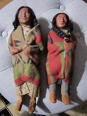 Pair of Skookum Indian Dolls, early, period label with swastika, c.1920s!