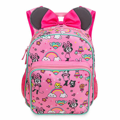 Disney Store Minnie Mouse Junior Backpack w/ Ears Pink Cute Girls Accessory NWT