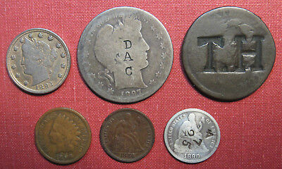 Lot Of 6 U.s. Coins, Counterstamped Or Modified - Interesting Variety!