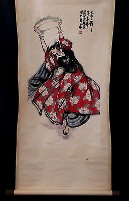Nice Chinese Handwork Figure Paper Old Scroll Painting Collection Marked KK308