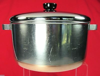 Revere Ware Copper Bottom Stainless Steel Stock Pot w/Lid  Process Patent 5 qt+