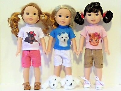 """9pc Outfits Shoes Set Fits 14.5"""" Wellie Wisher American Girl Doll Clothes"""
