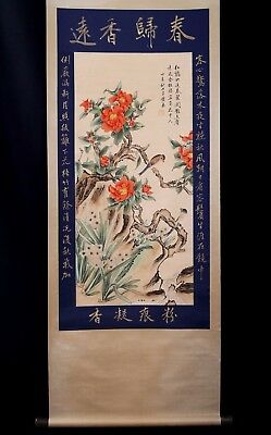 Marvelous Old Chinese Flower And Bird Hand Painting Collectible Mark KK173