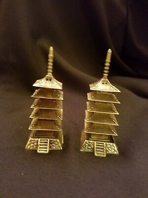 Vintage Japanese Sterling Silver  Pagoda Salt And Pepper Shaker Set