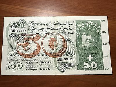1969 Switzerland 50 Francs world foreign banknote great condition