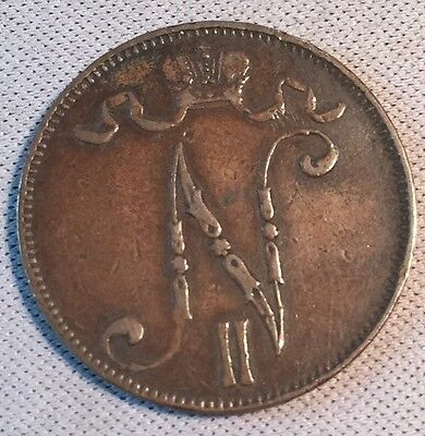1896 Finland SCARCE FIRST YEAR OF SERIES 5 Cents XF AU Coin