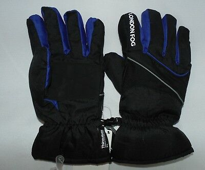 London Fog Big Boy Size 4-7 or 8-18 Reflective Piping Ski Gloves Black/Blue Snow