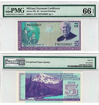 MPC Series 701 $5 Military Payment Certificate PMG 66 EPQ - GEM UNC rare US note