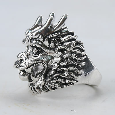 Chinese Exquisite Tibet Silver Handwork Lion Head Ring Z178