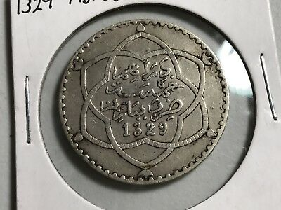 AH1329 Pa Morocco 1/2 Rial 5 Dirhams silver world foreign coin great condition