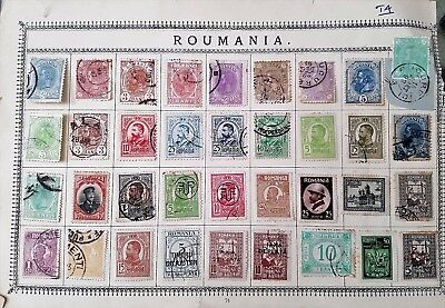 Romania 19th Century Early 20th Century Stamps Collection on Album Sheet