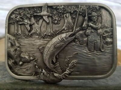 Vintage Fishing Belt Buckle Pewter Siskiyou Fishing 1982 M-10