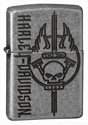 Zippo 29280, Harley Davidson-Skull, Antique Silver Plated Armo Lighter