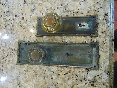 VINTAGE ART DECO entrance doorkoob set, brass KNOB AND BRASS DOOR  FACE PLATES