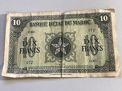 1943 Morocco 10 Francs world foreign banknote good condition