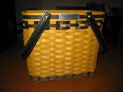 Never Used Longaberger 2005 VIP Basket With Leather Trim Rare Award + Protector