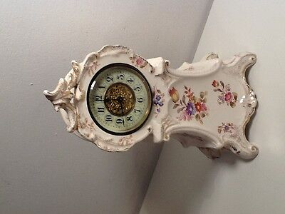 Royal Bonn Ansonia Antique Floral Ceramic Mantlle clock, c1930's