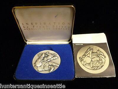 "1974 Frank Eliscue .999 fine Silver ""Inspiration"" America's First 2-Part Medal"