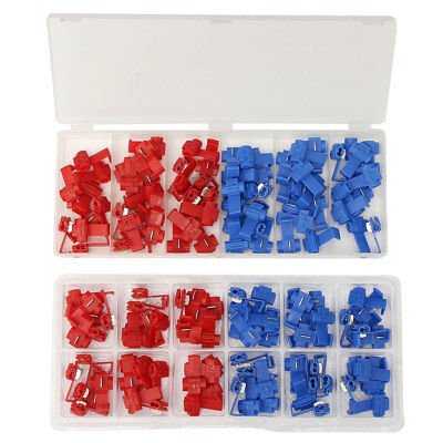 70Pcs Quick Splice Wire Connector Blue Red Cable Fast Terminal Crimp A