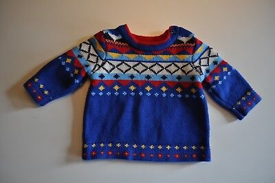 Hanna Andersson Baby Size 50 Blue Fair Isle Geometric Sweater 100% Cotton