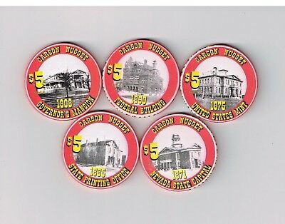 Set Of 5 Carson City Nugget Casino Millennium $5 Stacking Chips Ltd Edition