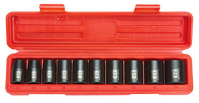 1/2 in. Drive Shallow Impact Socket Set (11-24mm) 6 pt.Metric, Cr-V, 10 Socket