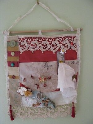 Handmade Upcycled Vintage wall hanging- Shabby Chic