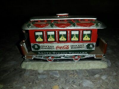 1993 Coca Cola Town Square Collection LLOYD STREET TROLLEY! Christmas FREE S&H
