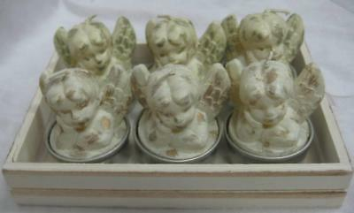 6 Novelty Tealight Candles White & Gold Candle with Cherub Angel Design New!