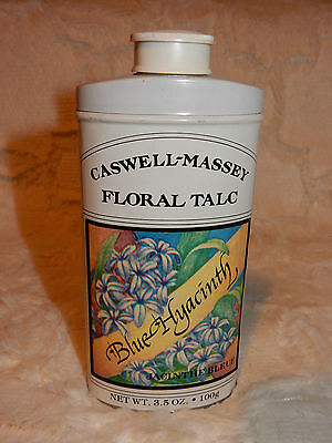 Unused. Caswell-Massey Floral Talc Shaker Tin,  Blue Hyacinth Scent 3.5 oz