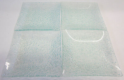 4 New Square Glass Candle Holder Textured Dishes For an Interior Decor Accessory