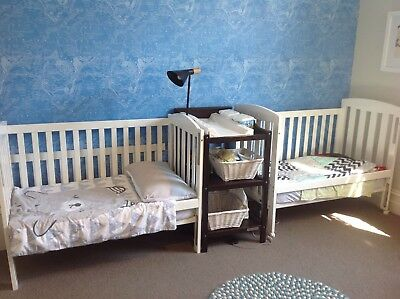 Childcare Bristol Cot White (turns into toddler bed) X 2