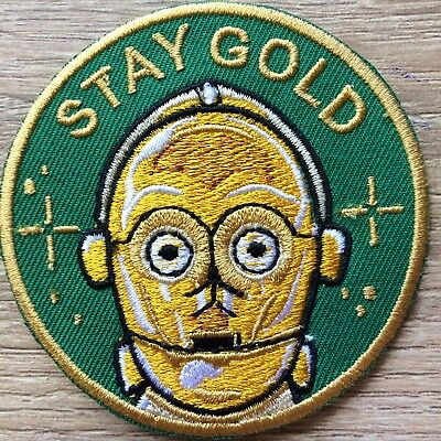 C-3PO STAY GOLD IRON ON PATCH Embroidered Applique Star Wars