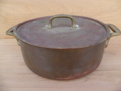 Antique Old Large Size Copper & Brass Cooking Pot, Old Copper (G703)