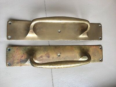 Antique Pair Solid Brass Heavy Duty Shop Hotel Pub Door Pull Handles Plates
