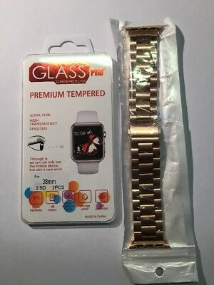 Apple Watch Series 1 And 2 38mm Aluminium Strap Band Rose Gold And Glass Pro.NEW