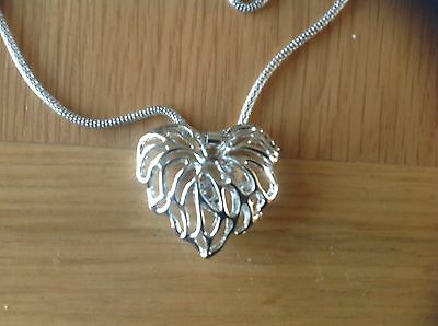 A REALLY Beautiful Large  ' Heart-Shaped ' Silver Toned Pendant  'Beach Find