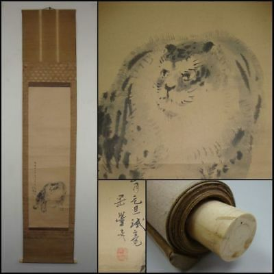 Antique Japanese Hanging Scroll by Okamoto TOYOHIKO - 'Fierce Tiger' c1843 w/box