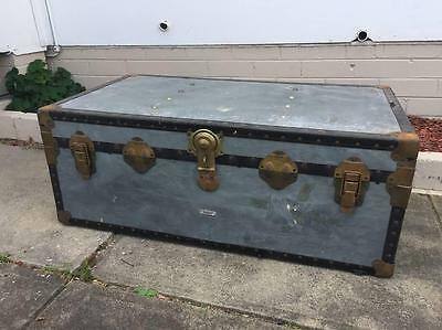 Vintage Industrial Shipping Trunk Steamer Chest Coffee Table Silver Metal